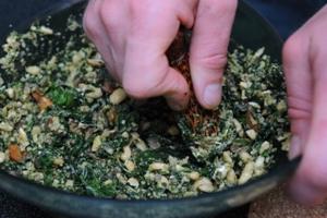 Makaronai su daržovėmis ir riešutais