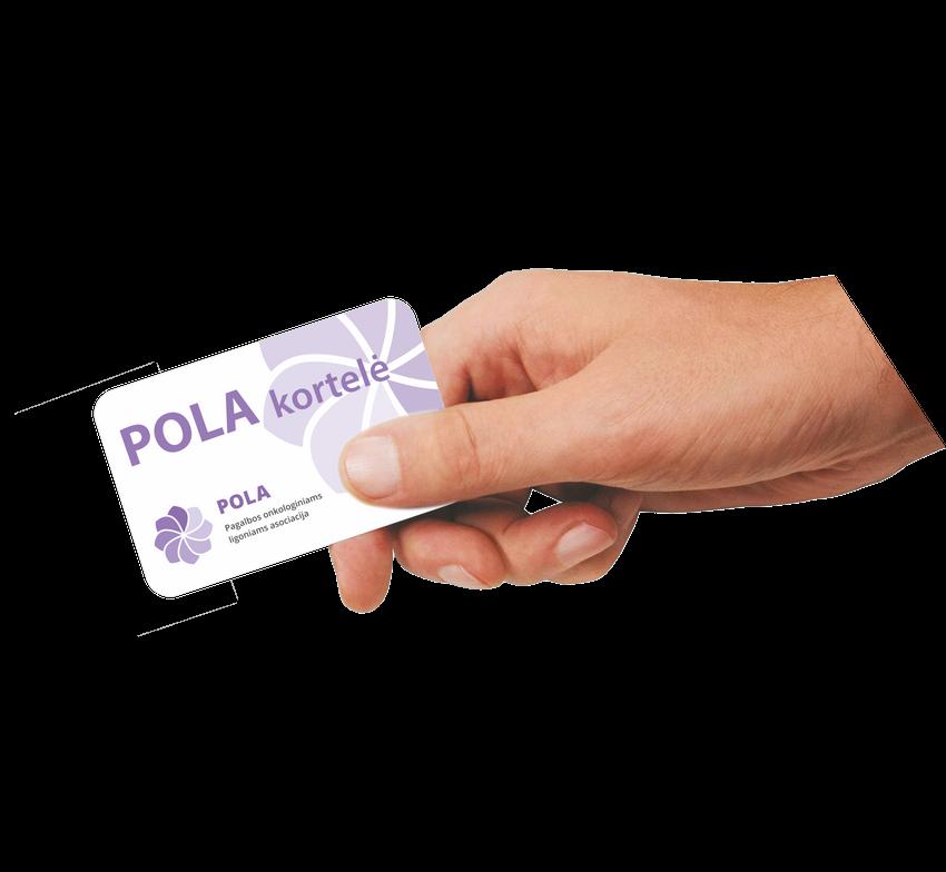 Rankoje laikoma POLA kortelė
