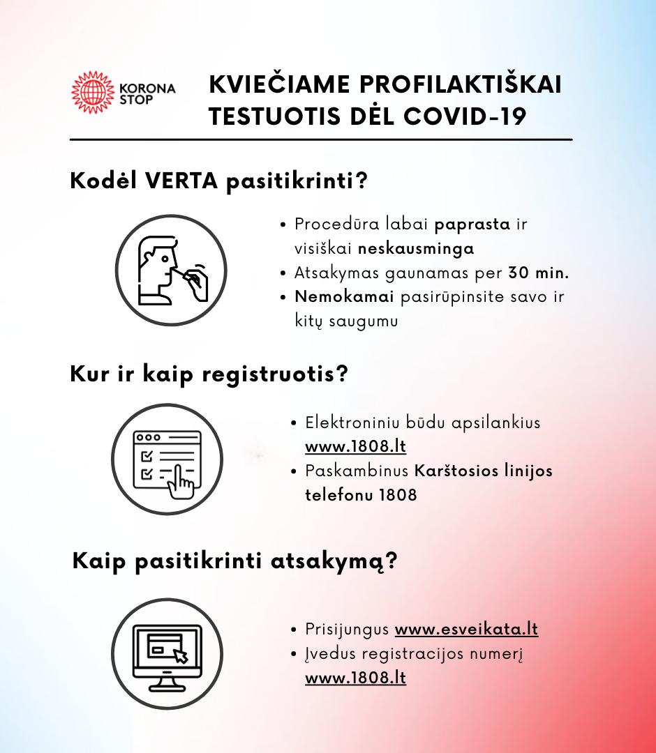 Plakatas apie kvietimą testuotis dėl koronaviruso