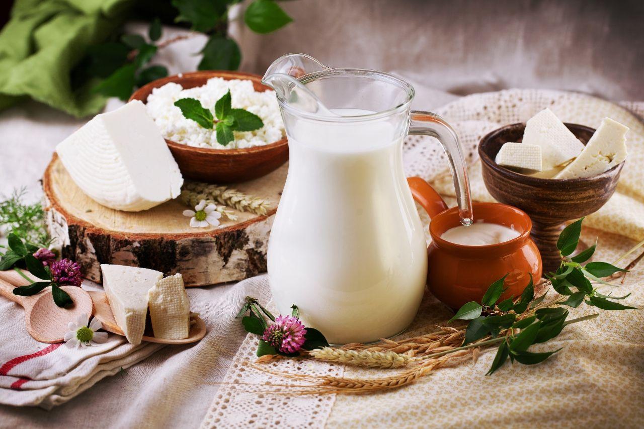 Ąsotis pieno, sūris, grietinė