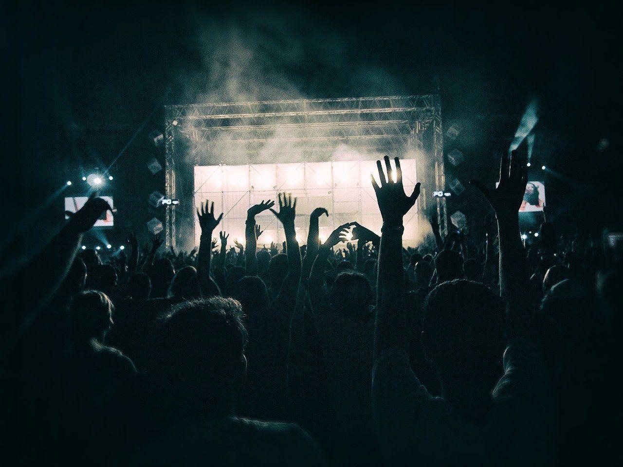 Žmonės lškėlę rankas koncerte